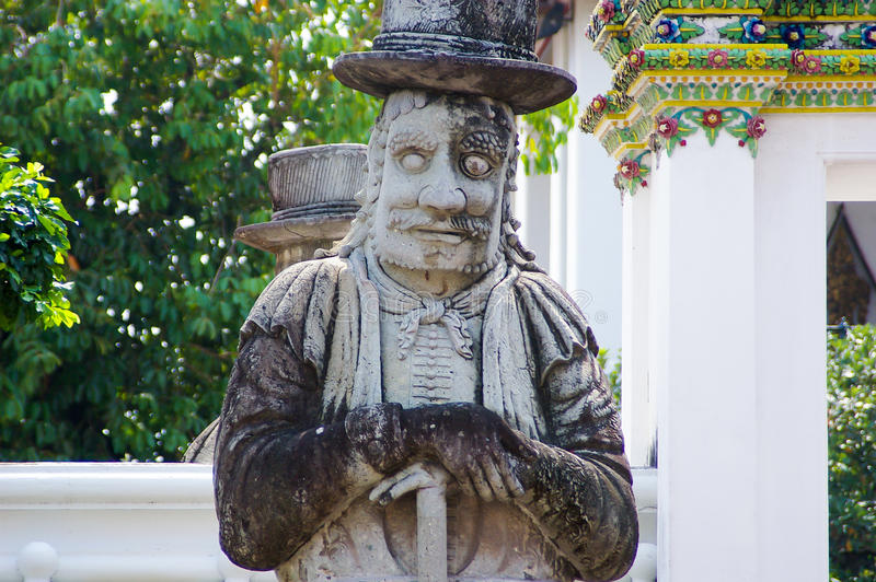 Chinese Giant statue in Wat Po Bangkok Thailand stock image