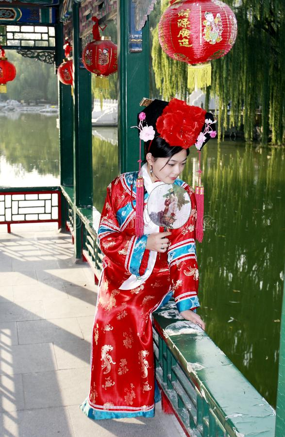 Chinese girl in ancient dress stock photography
