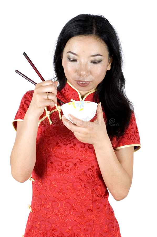 Download Chinese girl eating rice stock photo. Image of bowl, shanghai - 7878620