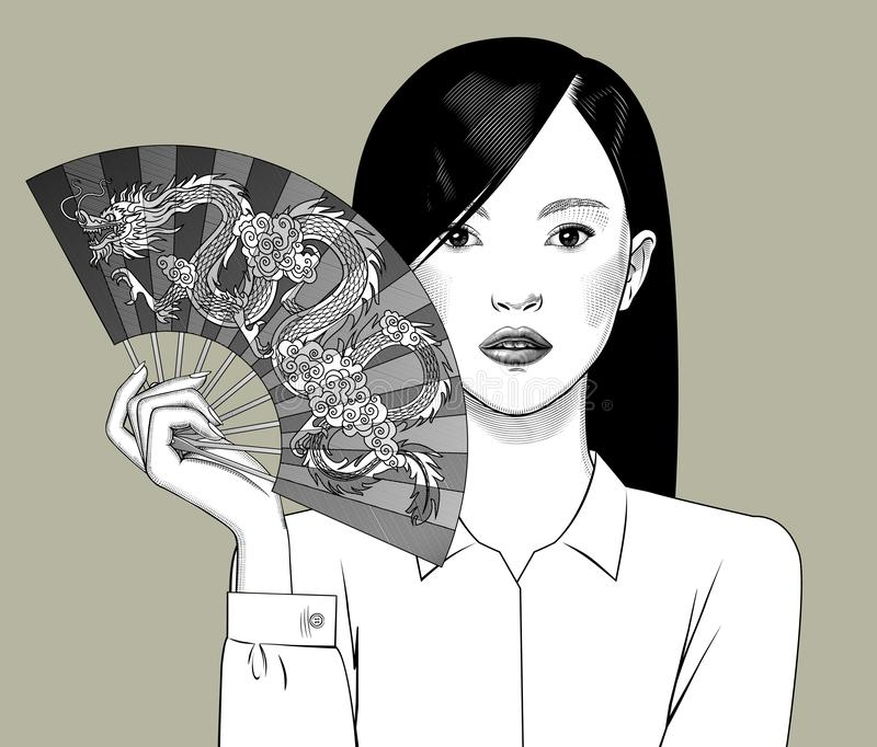 Chinese girl holding a fan with a dragon in her hand. Vintage engraving stylized drawing. Vector illustration vector illustration