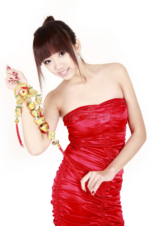 Chinese girl in new year stock photography
