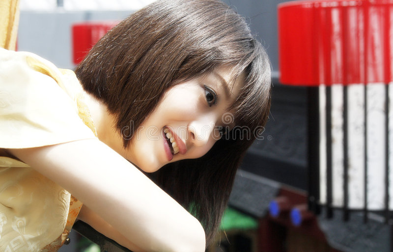 A Chinese girl with a smile. stock photography