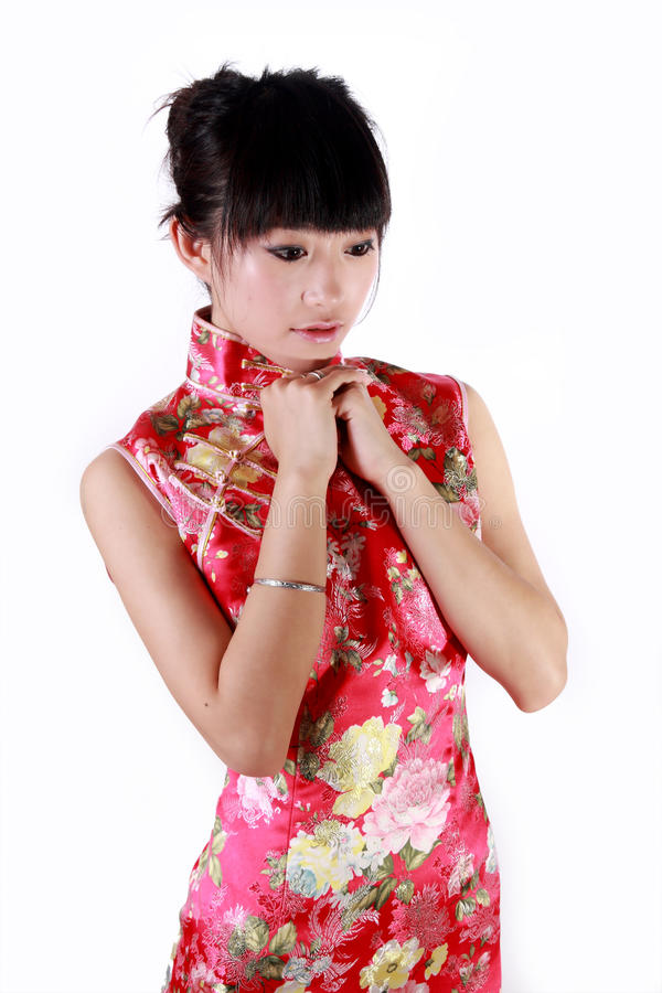Chinese girl in traditional dress stock photos