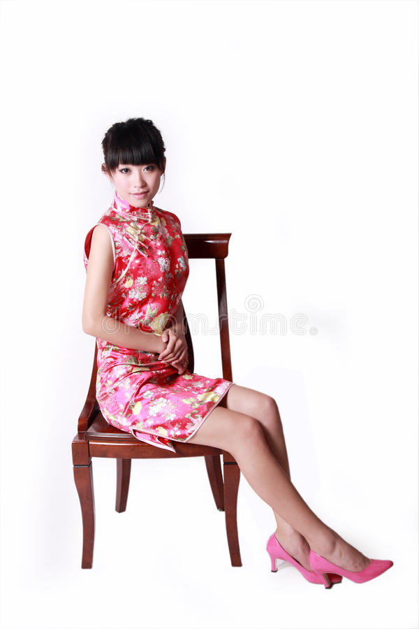 Chinese girl in traditional dress stock photo