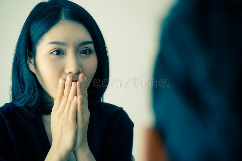 Chinese girlfriend surprise by boyfriend royalty free stock photography