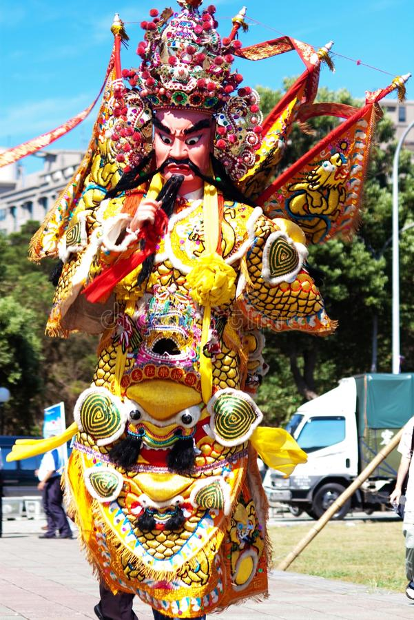 Chinese God. This is very traditional and famours in Taiwan during parades, with man-size puppets or costumes worn by temple workers stock photography