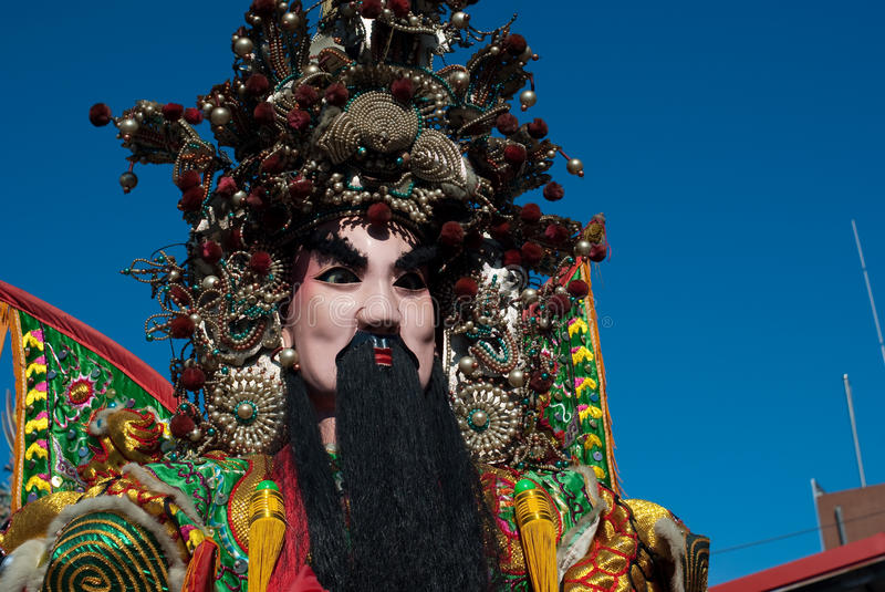 Chinese God. This is very traditional and famours in Taiwan during parades, with man-size puppets or costumes worn by temple workers royalty free stock image