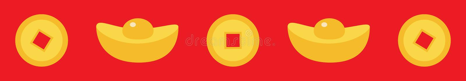 Chinese gold ingot coin line set. China money square centre. Golden with hole. Happy New Year symbol atribute. Red background. stock illustration