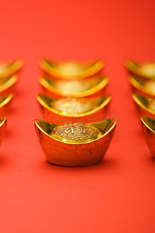 Gold Ingot for Chinese New Year royalty free stock photos