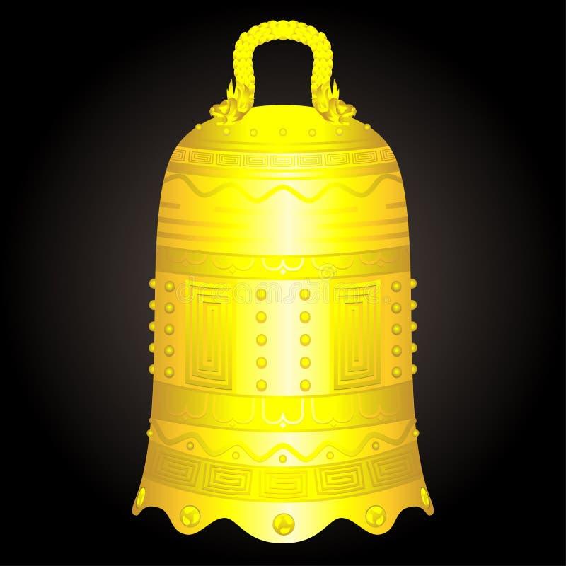 Chinese golden bell artifact vector illustration stock illustration