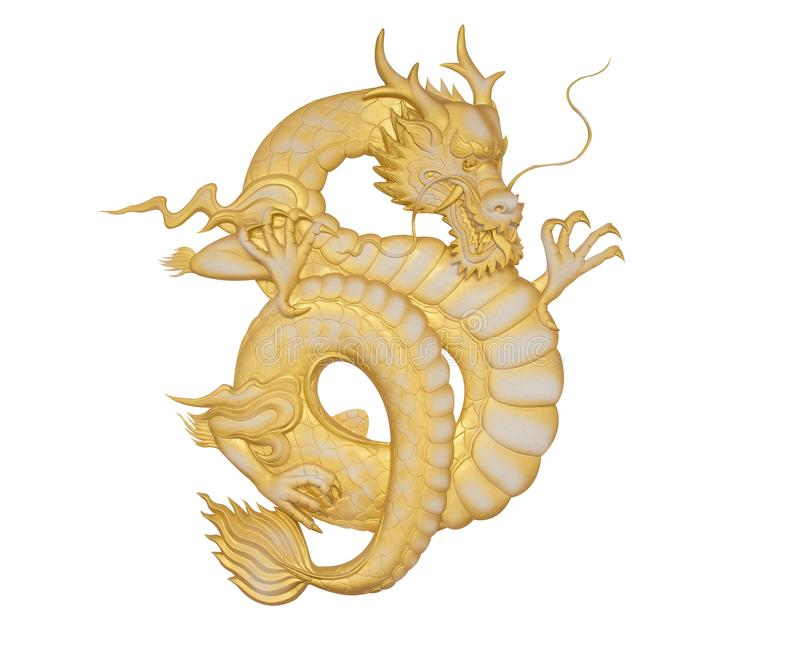 Chinese golden dragon isolated on white with clipping path. stock illustration