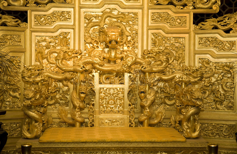 Chinese Golden Emperor's Throne Dragons royalty free stock photography