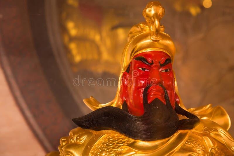 The Chinese golden goddess statue at Wat Borom Raja Kanjanapisek Wat Leng Nei Yee 2 Temple, People go to temple to pray for good royalty free stock image