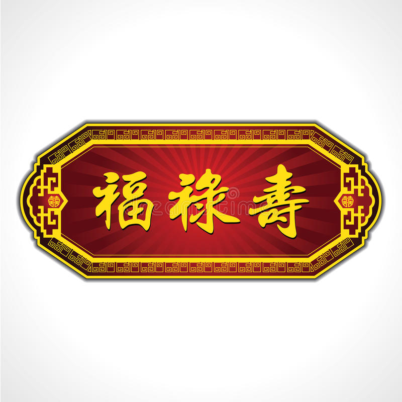 Chinese Good luck Characters Plate. Blessings, Prosperity and Longevity. royalty free illustration