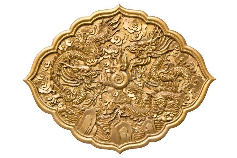 Chinese gouden tweelingdraken stock afbeeldingen
