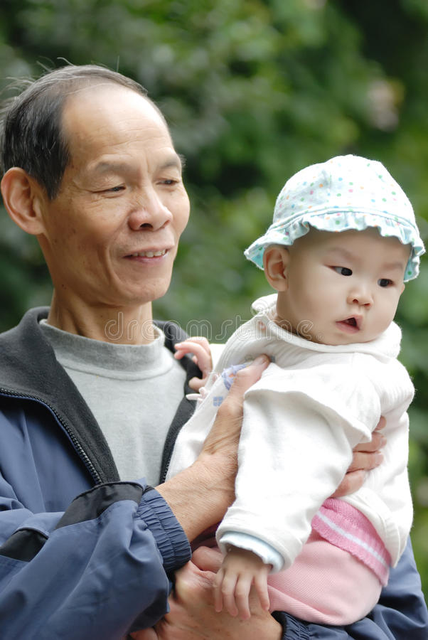 Download Chinese grandpa and baby stock photo. Image of active - 20939400