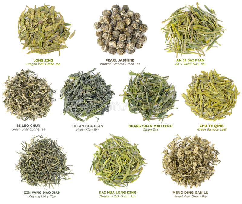 Chinese green tea collection royalty free stock photography
