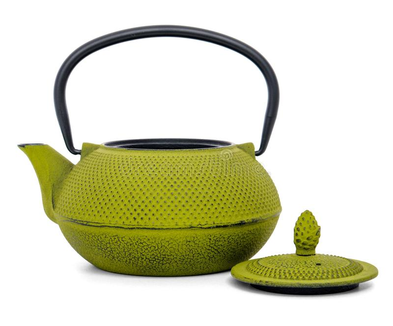 Chinese green teapot isolated on white background. / kettle with an open lid royalty free stock image