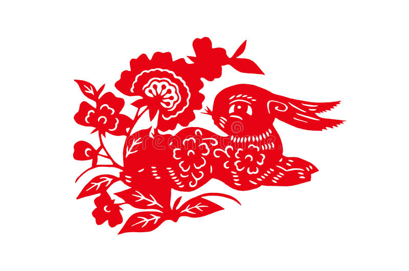 Chinese handmade red cut paper rabbit stock images