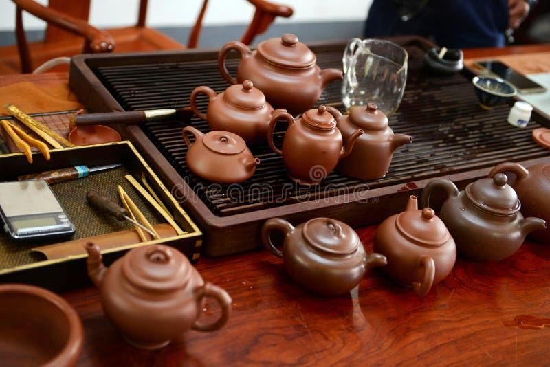 Chinese handmade teapot stock photos