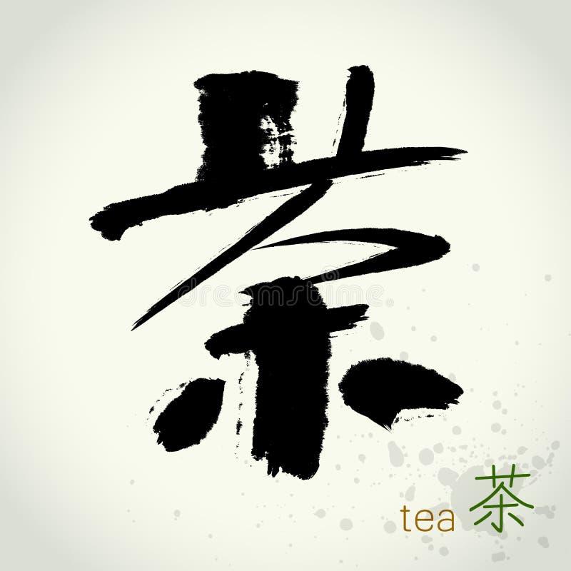 Chinese hanzi Calligraphy Tea vector illustration