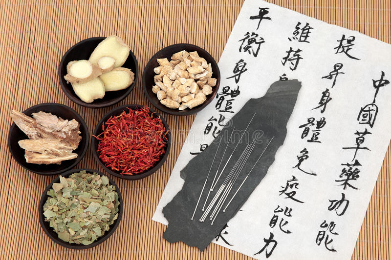 Chinese Health Care. Chinese herbal medicine selection with acupuncture needles and mandarin calligraphy script on rice paper describing the medicinal functions stock images