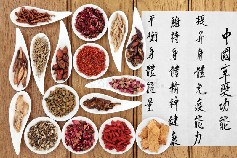 Chinese Healthcare. Traditional chinese herbal medicine with mandarin calligraphy on rice paper over oak background. Translation describes the medicinal royalty free stock image