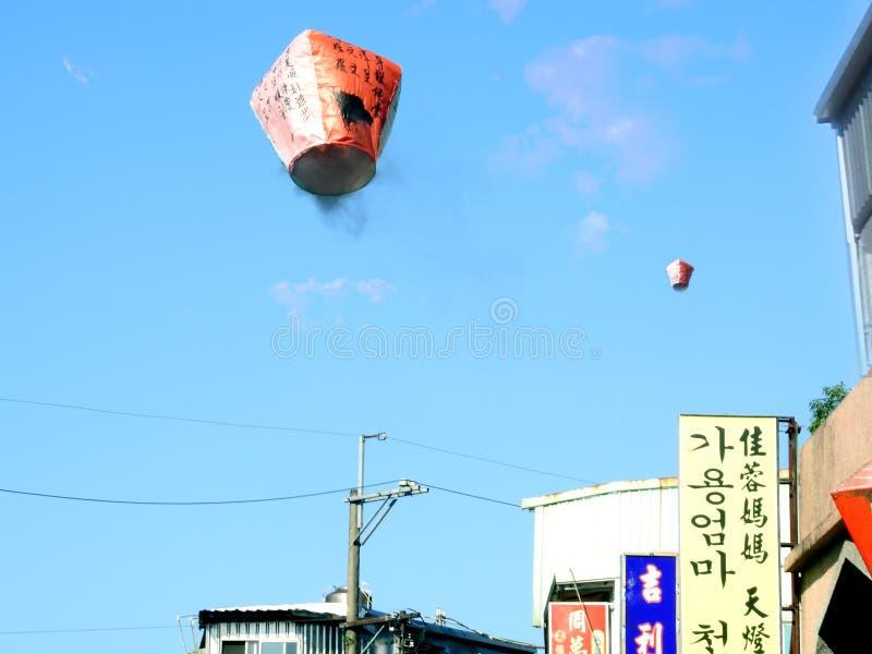 Chinese Hemellantaarns die omhoog vliegen royalty-vrije stock foto