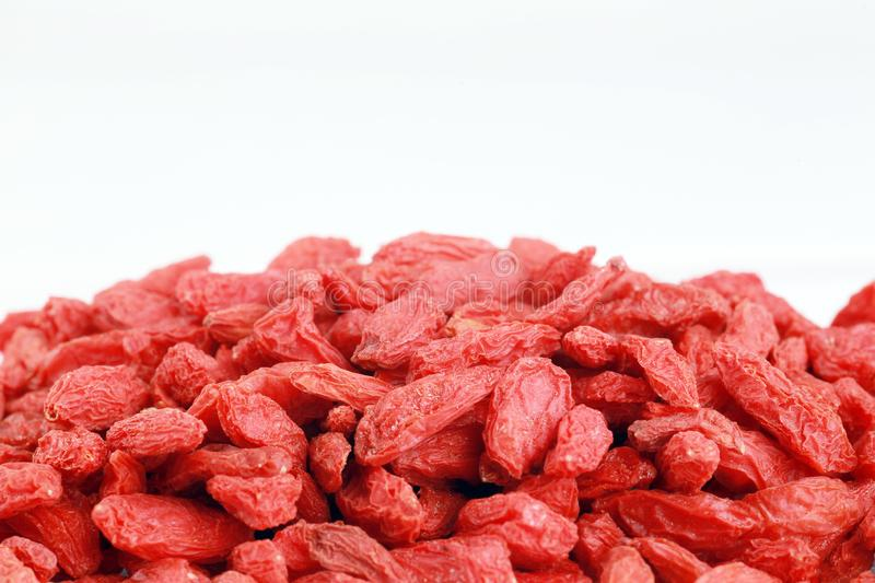 Chinese herb - Goji berry. Wolfberry isolated on white stock photos