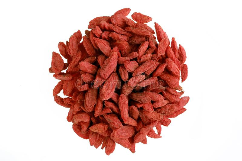 Chinese herb - Goji berry. Wolfberry isolated on white royalty free stock images
