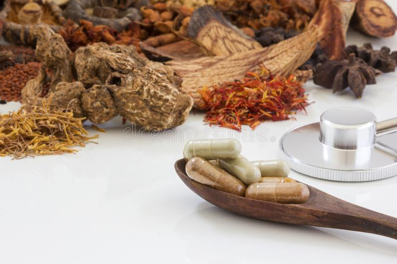Chinese herb selection used in traditional alternative herbal medicine royalty free stock photos