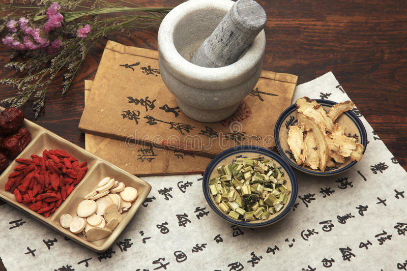 Chinese herbal medicine. And ancient books stock photo