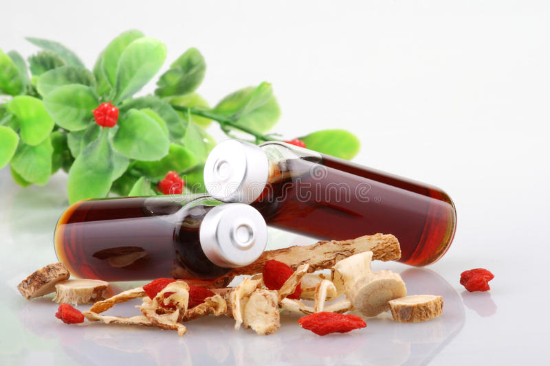 Chinese herbal medicine. And patent medicine royalty free stock image