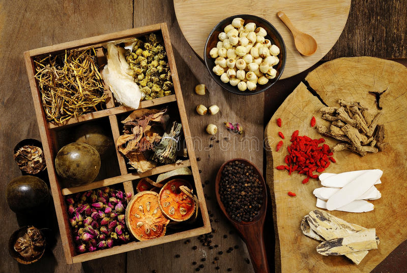 Chinese herbal medicine and flower tea royalty free stock images