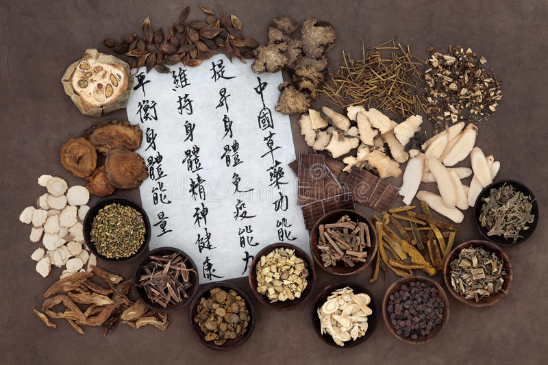 Chinese Herbal Medicine. Large chinese herb selection with mandarin calligraphy script. Translation describes chinese herbal medicine as increasing the bodys stock photography