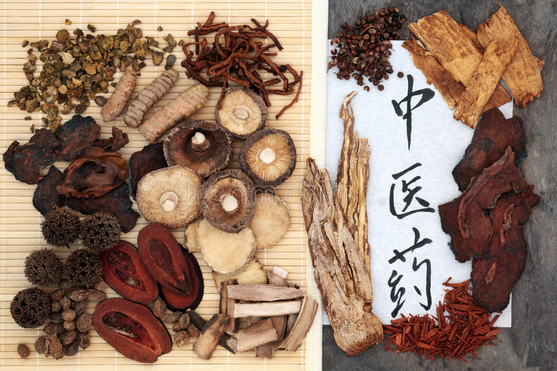 Chinese Herbal Medicine Selection. And calligraphy script on rice paper. Translation reads as chinese herbal medicine royalty free stock image