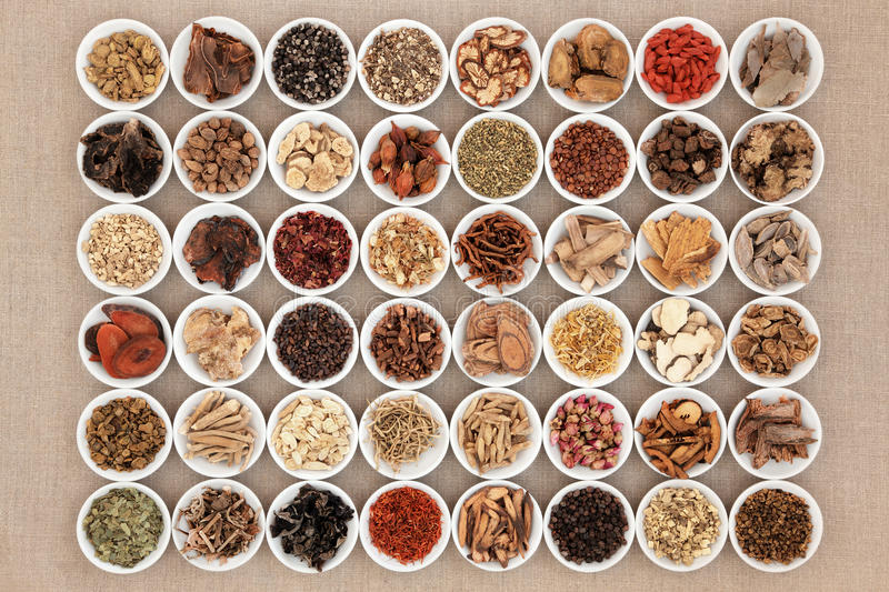 Chinese Herbal Medicine Selection. In white china bowls over hessian background royalty free stock photography