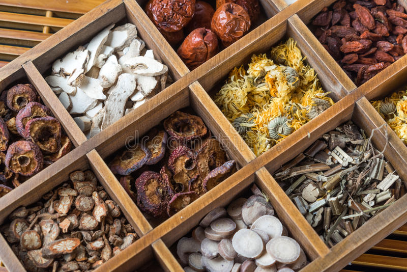 Chinese Herbal Medicine on the table. Chinese Herbal Medicine in box on table royalty free stock images