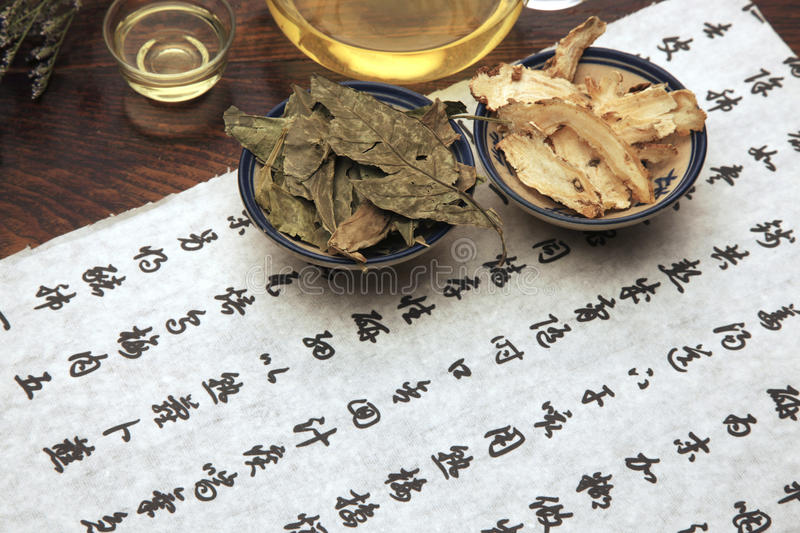 Chinese herbal medicine and tea set. Still life stock images
