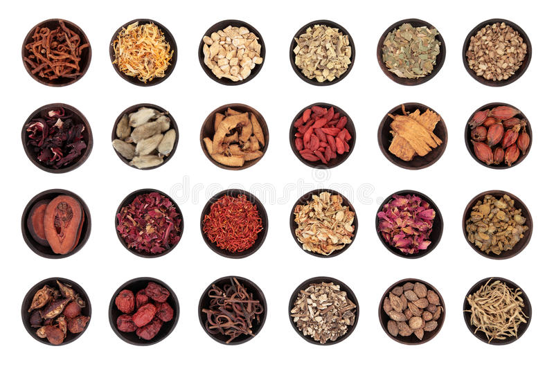 Chinese Herbal Medicine. Traditional chinese herbal medicine in wooden bowls isolated over white background stock image