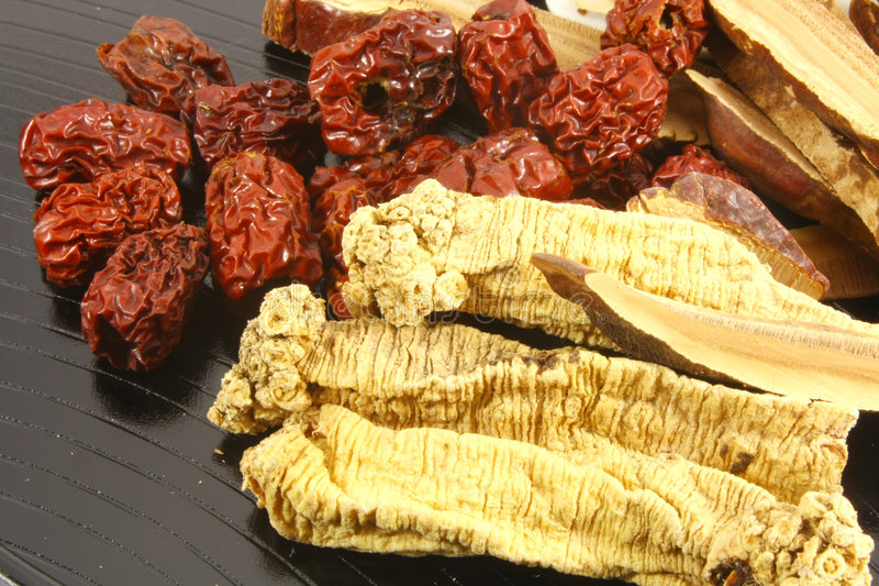 Chinese Herbal Soup Ingredients stock image