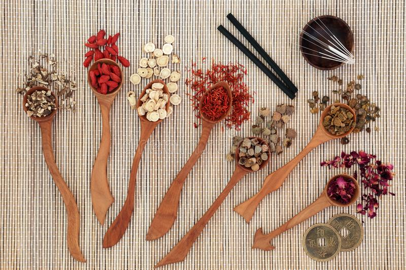 Chinese Herbal Therapy. Chinese herbal medicine with herbs in wooden spoons, acupuncture needles and moxa sticks used in moxibustion therapy with feng shui coins stock photos
