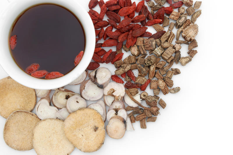 Chinese herbs blends and herb tea. Top view chinese herbs blends and herb tea stock images