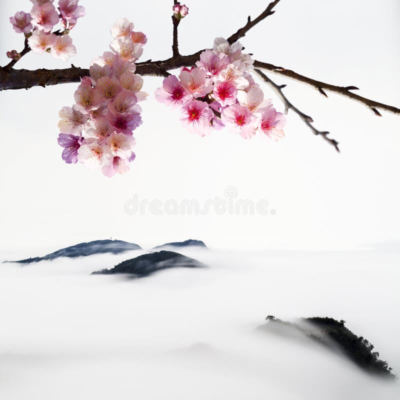Chinese het Schilderen stijl van de bloesems van de Kers vector illustratie