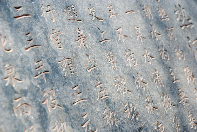 Chinese hieroglyphs. Engraved in stone stock image
