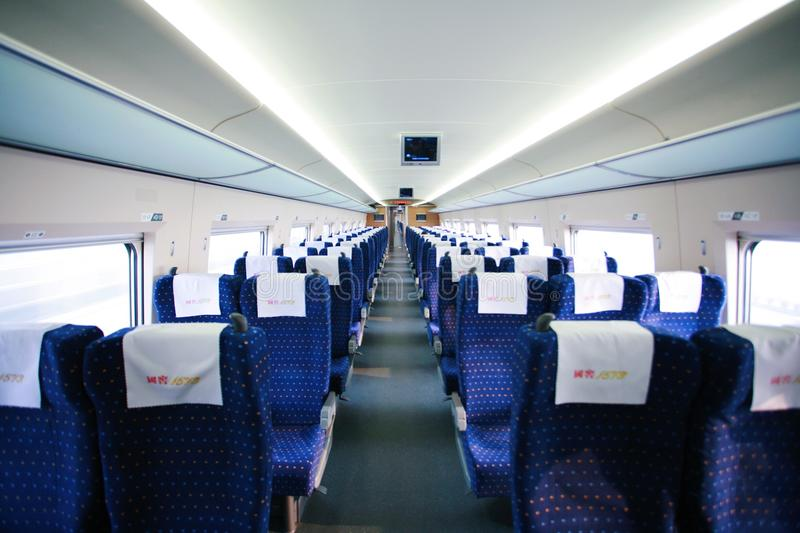 Chinese high speed rail. Interior of a high speed train royalty free stock photography
