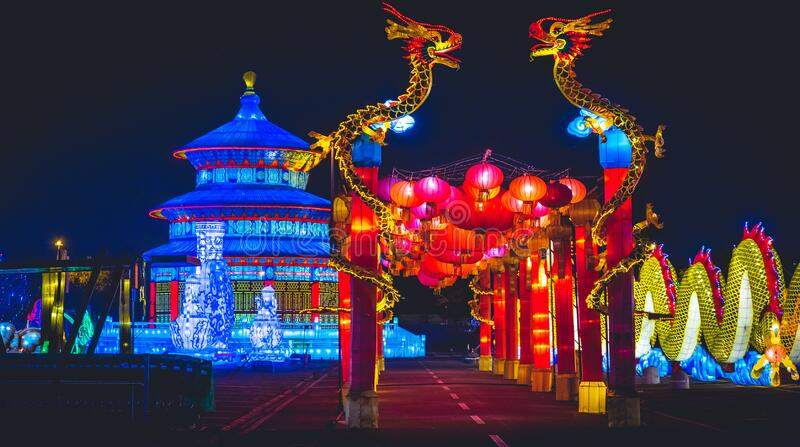 Chinese Horizontal background blue night dragon temple lantern Festival.  stock photo