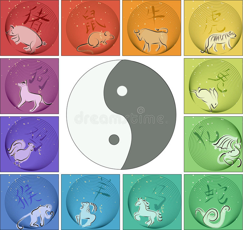 Download Chinese Horoscope Around Yin Yang Stock Vector - Illustration: 18900117