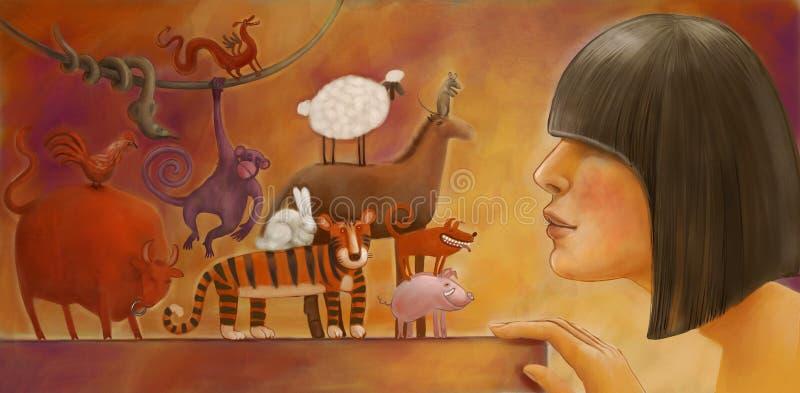 Chinese horoscope illustration vector illustration