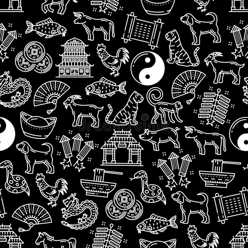 Chinese horoscope seamless vector pattern. Chinese zodiac signs and celebration pattern background. Vector seamless design of traditional Chinese Lunar New Year stock illustration